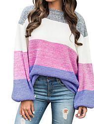 economico -Per donna Quotidiano Essenziale Monocolore Manica lunga Standard Pullover, Rotonda Autunno / Inverno Cotone Rosa M / L / XL