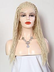 Недорогие -Синтетические кружевные передние парики Матовое стекло Блондинка тесьма Искусственные волосы 18-24 дюймовый Регулируется / Жаропрочная Блондинка Парик Жен. Длинные Лента спереди Отбеливатель Blonde