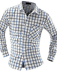 Недорогие -Муж. Офис Рубашка Тонкие Контрастных цветов / Длинный рукав