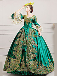 cheap -Rococo / 18th Century Costume Women's Dress / Party Costume / Masquerade Green Vintage Cosplay Lace / Satin Poet Sleeve Long Length Halloween Costumes