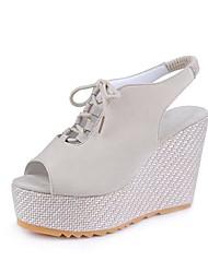 cheap -Women's Wedge Sandals Suede Spring & Summer Minimalism Sandals Walking Shoes Wedge Heel Peep Toe Black / Beige / Purple
