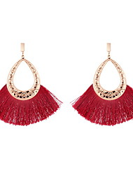 cheap -Women's Tassel / Hollow Out Drop Earrings - Creative, Pear Ethnic, Boho Red / Light Pink / Dark Green For Carnival / Masquerade