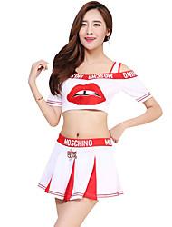 baratos -Fantasias para Cheerleader Roupa Mulheres Espetáculo Poliéster Estampa / Combinação Manga Curta Caído Saias / Blusa
