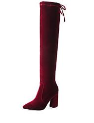 cheap -Women's Fashion Boots Elastic Fabric Fall Boots Chunky Heel Knee High Boots Black / Burgundy