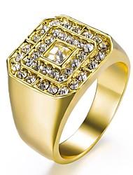 baratos -Homens Clássico Anel - Strass, Chapeado Dourado Estiloso, Clássico 8 / 9 / 10 / 11 Dourado Para Diário