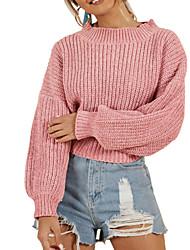 economico -Per donna Quotidiano Essenziale Tinta unita Manica lunga Standard Pullover, Rotonda Autunno / Inverno Cotone Rosso / Rosa / Beige M