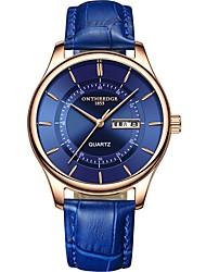 Недорогие -ontheedge Муж. Нарядные часы Наручные часы Японский Японский кварц Кожа Черный / Небесно-голубой 30 m Защита от влаги Календарь Повседневные часы Аналоговый Классика На каждый день Мода - Черный Синий