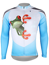 baratos -ILPALADINO Homens Manga Longa Camisa para Ciclismo - Azul e Branco Sapo Moto Camisa / Roupas Para Esporte Blusas, Respirável Secagem Rápida Resistente Raios Ultravioleta 100% Poliéster