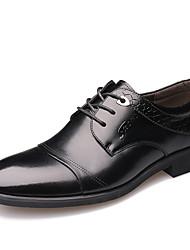 Недорогие -Муж. Печать Оксфорд Синтетика Весна На каждый день Туфли на шнуровке Водостойкий Черный / Коричневый