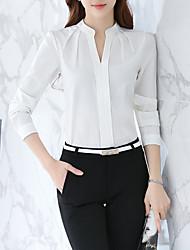 Недорогие -Жен. Офис Плиссировка Блуза / Рубашка V-образный вырез Тонкие Деловые / Классический Однотонный Белый