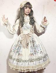 billiga -Klassisk / Traditionell Lolita Söt Lolita Chiffong Dam Cosplay Vit / Blå / Bläck blå Ärmlös Ärmlös Kostymer