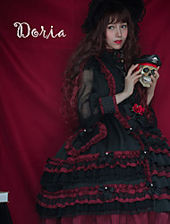 cheap -Sweet Lolita Dress Vintage Sweet Lolita Ruffle Dress Lace Female Dress Cosplay Black Stitching Lace Juliet Sleeve Long Sleeve Midi Halloween Costumes