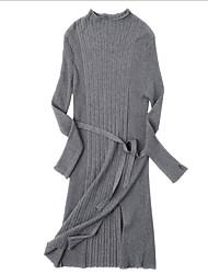 baratos -Mulheres Para Noite Delgado Bainha / Tricô Vestido Gola Alta Médio