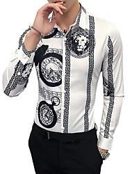 baratos -Homens Camisa Social - Trabalho Estampado Colarinho Clássico Delgado / Manga Longa