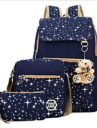 baratos -Mulheres Bolsas Tela de pintura Conjuntos de saco 3 Pcs Purse Set Urso / Ziper Azul Marinha / Roxo / Fúcsia