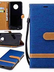 Недорогие -Кейс для Назначение Motorola MOTO G6 / G5 Plus Кошелек / Бумажник для карт / со стендом Чехол Однотонный Твердый текстильный для MOTO G6 / Мото G5 Plus / Moto G5 / Мото G4 Plus