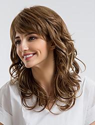 baratos -Perucas de cabelo capless do cabelo humano Cabelo Humano Encaracolado Corte Assimétrico Riscas Naturais Marrom Sem Touca Peruca Mulheres Roupa Diária