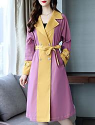 Недорогие -длинное пальто женщин - цветной блок