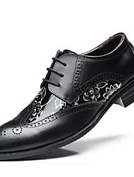 Недорогие -Муж. Печать Оксфорд Искусственная кожа Осень Туфли на шнуровке Черный / Желтый / Коричневый