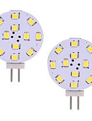Недорогие -2w светодиодная лампочка g4 двухконтактная тонкая круглая лампа для люка для кухни с подсветкой для люстра для люка для дома с подсветкой 180lm dc / ac 12v теплый / холодный белый (2 шт)