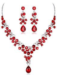 abordables -Femme Multicolore Cristal Classique Ensemble de bijoux - Fleur Mode Comprendre Nuptiales Parures Blanc / Rouge / Bleu Pour Mariage Soirée
