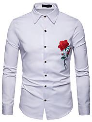 Недорогие -Муж. Офис Вышивка Рубашка Тонкие Деловые / Классический Однотонный / Цветочный принт / Контрастных цветов Белый / Длинный рукав
