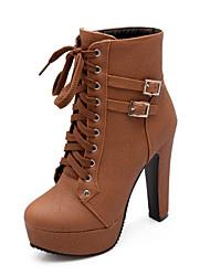 Недорогие -Жен. Fashion Boots Полиуретан Наступила зима На каждый день Ботинки Платформа Круглый носок Сапоги до середины икры Черный / Бежевый / Коричневый / Для вечеринки / ужина