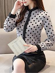 Недорогие -Жен. С принтом Блуза / Рубашка Уличный стиль / преувеличены Горошек