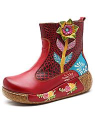 baratos -Mulheres Sapatos Confortáveis Pele Primavera & Outono Vintage Botas Creepers Botas Cano Médio Miçangas Roxo / Vermelho