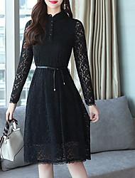 baratos -Mulheres Básico Evasê Vestido - Renda / Patchwork, Sólido Médio