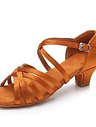 baratos -Mulheres Sapatos de Dança Latina Cetim Salto Salto Grosso Personalizável Sapatos de Dança Marron / Vermelho / Azul