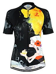 Недорогие -Arsuxeo Жен. С короткими рукавами Велокофты - Черный / желтый Цветочные / ботанический Велоспорт Джерси Верхняя часть, Дышащий Быстровысыхающий Анатомический дизайн 100% полиэстер / Эластичная
