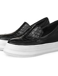 abordables -Femme Chaussures de confort Cuir Nappa Printemps Mocassins et Chaussons+D6148 Talon Plat Bout fermé Noir / Rouge