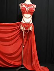 baratos -Fantasia de Dança Roupas de Dança Exótica / Body de Strass Mulheres Espetáculo Elastano Cristal / Strass Caído Saias / Sutiã / Calções