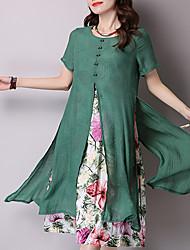 abordables -Femme Chinoiserie Coton Ample Robe - Imprimé, Fleur Midi