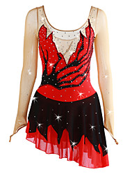 cheap -Figure Skating Dress Women's / Girls' Ice Skating Dress Red Spandex Micro-elastic Professional Skating Wear Sequin Long Sleeve Figure Skating