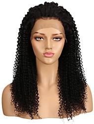 Недорогие -Необработанные натуральные волосы Лента спереди Парик Бразильские волосы Kinky Curly Парик Средняя часть 130% Плотность волос с детскими волосами Легко туалетный Натуральный Необработанные вьющийся