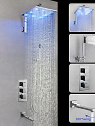 baratos -torneira do chuveiro / torneira da pia do banheiro - válvula de bronze montado na parede contemporânea do cromo conduzida