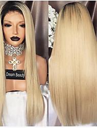 billige -Menneskehår Blonde Front Paryk Brasiliansk hår Lige Paryk Side del 130% Med Baby Hair / Ombre-hår / 100% Jomfru Flerfarvet Dame Lang Blondeparykker af menneskehår / Nuance