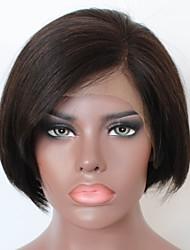 abordables -Cheveux Rémy Full Lace Perruque Cheveux Brésiliens Ondulation naturelle Perruque Coupe Carré / Coupe Dégradée 130% Ligne de Cheveux Naturelle / Partie latérale / Perruque afro-américaine Naturel Femme