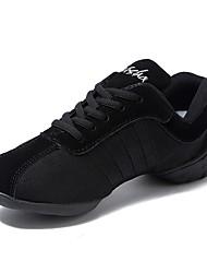 abordables -Femme Baskets de Danse Toile Basket Fantaisie Talon Plat Personnalisables Chaussures de danse Noir