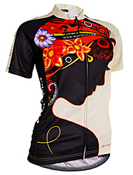 cheap -Nuckily Women's Short Sleeve Cycling Jersey - Black Floral / Botanical Bike Jersey, Ultraviolet Resistant, Summer, Polyester / Breathable / Stretchy / Breathable / Lycra / SBS Zipper