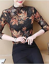Недорогие -женская блузка - цветочная / сплошная цветная шея