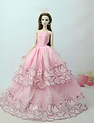 Недорогие -Платья Платье Для Кукла Барби Розовый Тюль / Кружево / Шелково-шерстяная ткань Платье Для Девичий игрушки куклы