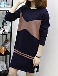 baratos -Mulheres Tricô Vestido Geométrica Altura dos Joelhos