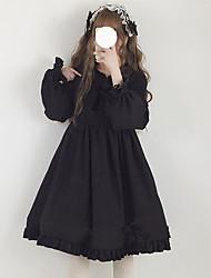 Недорогие -Японский и корейский стиль Sweet Lolita Платья Девочки Мужской Японский Косплей костюмы Черный / Красный / Розовый Сплошной цвет Длинный с фонариком Длинный рукав Midi