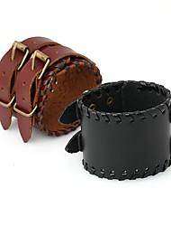 abordables -Homme Le style rétro Tressé Bracelets Vintage Bracelets en cuir - Pointe Elégant, Rétro, Punk Bracelet Noir / Marron Pour Quotidien Plein Air