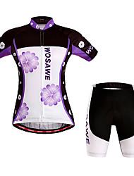 baratos -WOSAWE Mulheres Manga Curta Camisa com Shorts para Ciclismo - Roxo Moto Shorts / Camisa / Roupas Para Esporte / Shorts Acolchoados, A Prova de Vento, Respirável, Tapete 3D, Secagem Rápida Poliéster