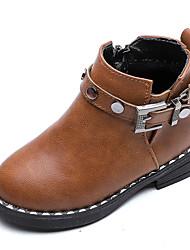 Недорогие -Девочки Обувь Полиуретан Наступила зима Ботильоны Ботинки для Дети Черный / Винный / Темно-коричневый