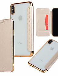 povoljno -Θήκη Za Apple iPhone XR / iPhone XS Max Utor za kartice / Pozlata / Zaokret Korice Jednobojni Tvrdo PU koža za iPhone XS / iPhone XR / iPhone XS Max